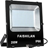 FAISHILAN 200W LED Flood Light Outdoor IP66 Waterproof with US-3 Plug 20000Lm for Garage,Garden,Yard