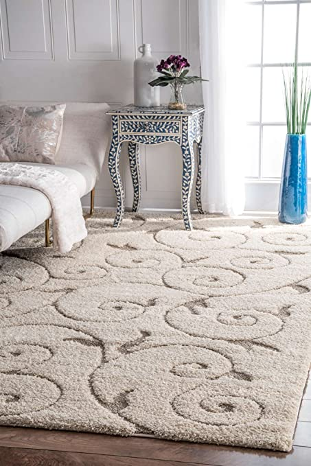 Beau Shaggy Area Rug Plush Soft Living Room Rugs Living Room Bedroom Mat 9x12 3D  Design Cream