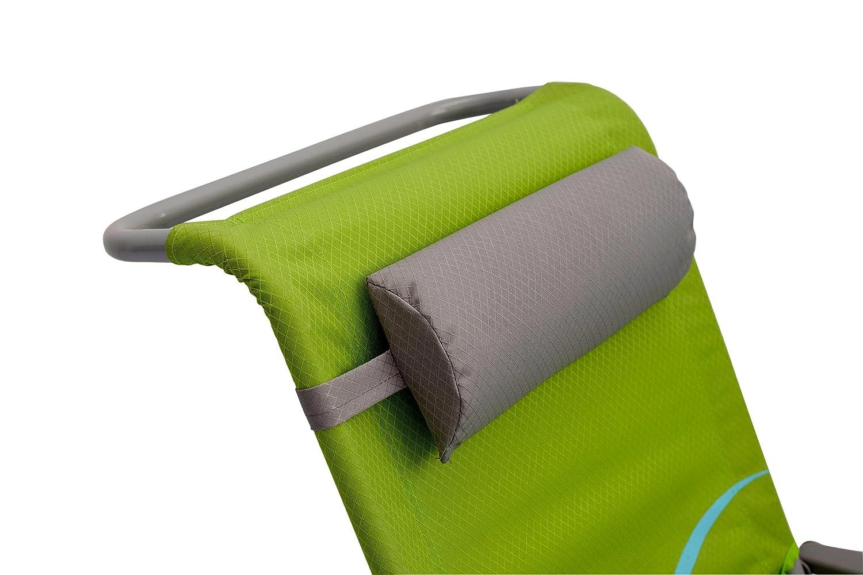 Meerweh Mar WEH Adultos Silla de Playa con Respaldo y reposacabezas Ajustable Silla Plegable Pesca Silla Silla de Camping XXL Color Verde//Gris