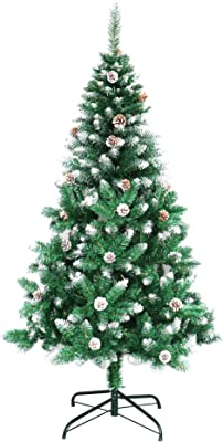 Holiday Essence 5 Foot Artificial Christmas Tree Flocked, Hinged 420 Tips Canadian Pine Tree with Snow, Solid Metal Stand for Indoor and Outdoor Holiday Decoration