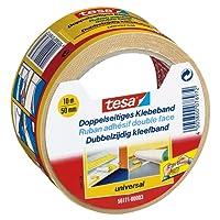 tesa Doppelseitiges Klebeband für Teppich Verlegung sowie Bastel- und Dekorationsarbeiten, 10m x 50mm (6)