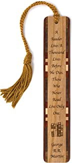 product image for Personalized George R.R. Martin Quote About Living a Thousand Lives, Engraved Wooden Bookmark with Tassel - Search B07172NZZS for Non-Personalized Version