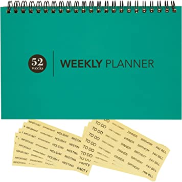 POURVOUS Harmony Weekly Planner Pad 12 Floral Pattern Designs 60 Weeks Scheduler Appointment Book Undated Desk Calendar 14 x 4