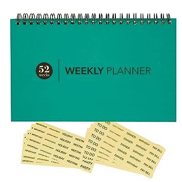 Amazon.com: Calendario semanal planificador en blanco ...