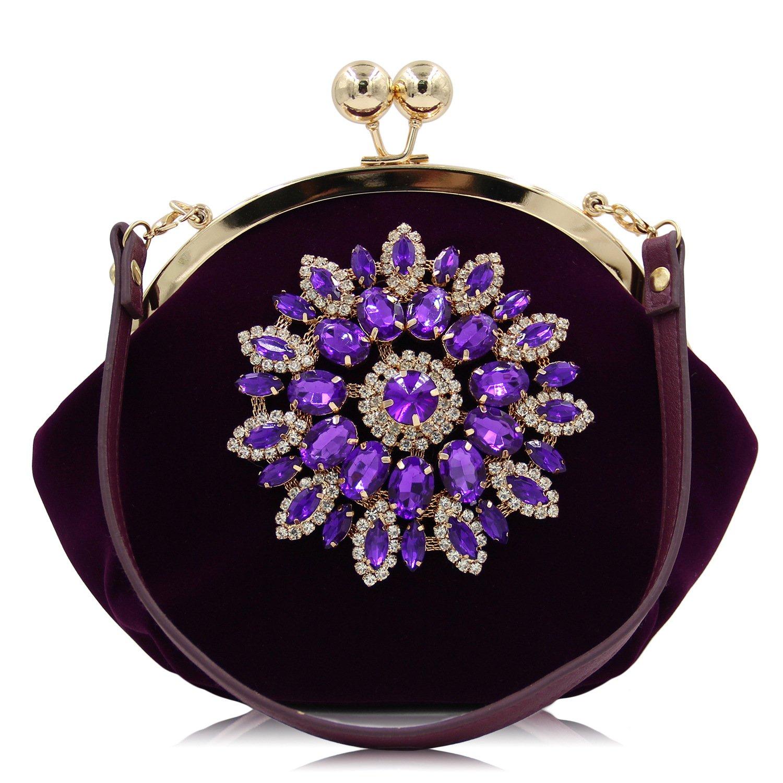 BeautyWJY Ladies Satin Tote Evening Party Bridal Diamante Bag Clutch
