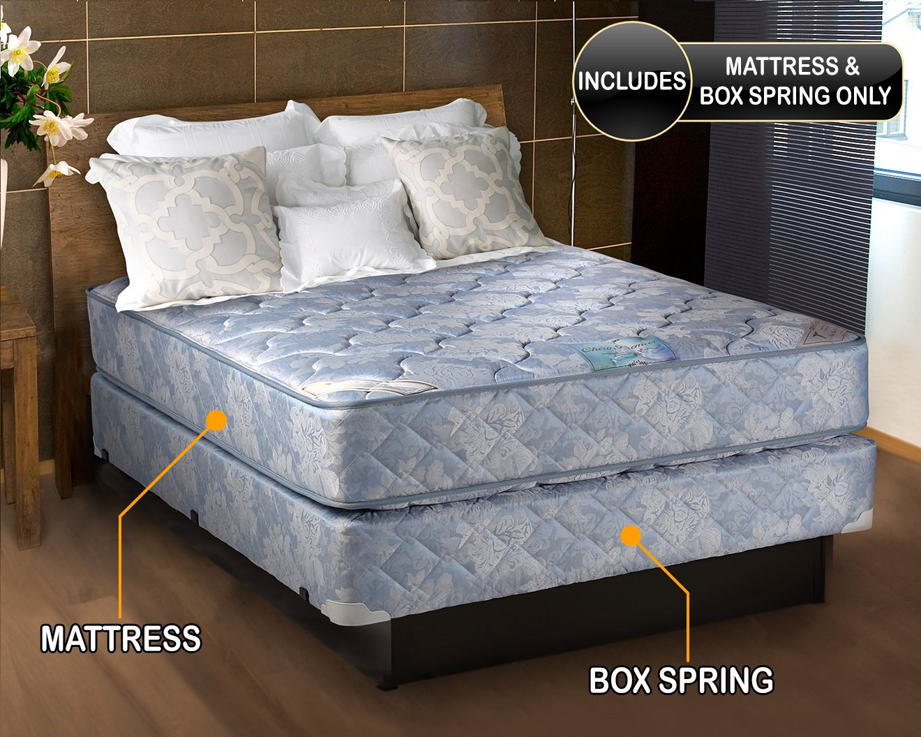 and sleep elite firm amazon inch fully pillowtop continental assembled ca spring mattress boxspring dp king home collection box gentle othopedic