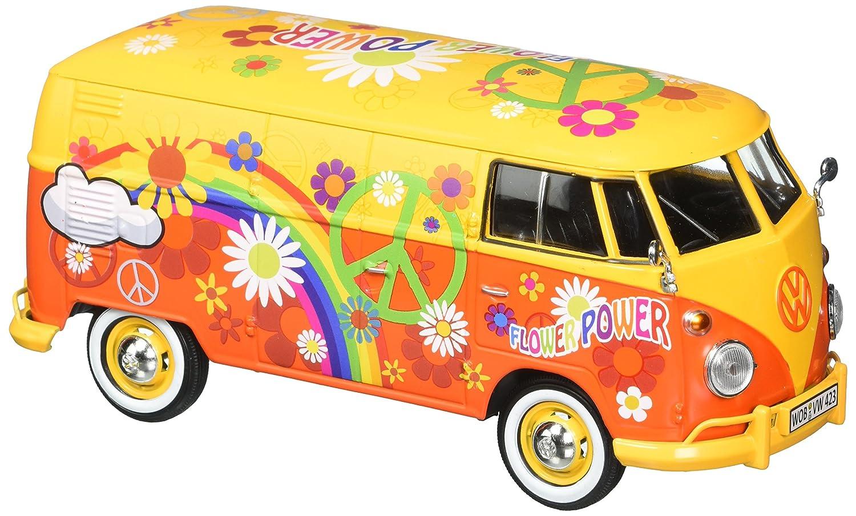 Motor Max 1 24 W B Volkswagen Type 2 T1 Delivery Van with Flower Power Design Yellow Orange