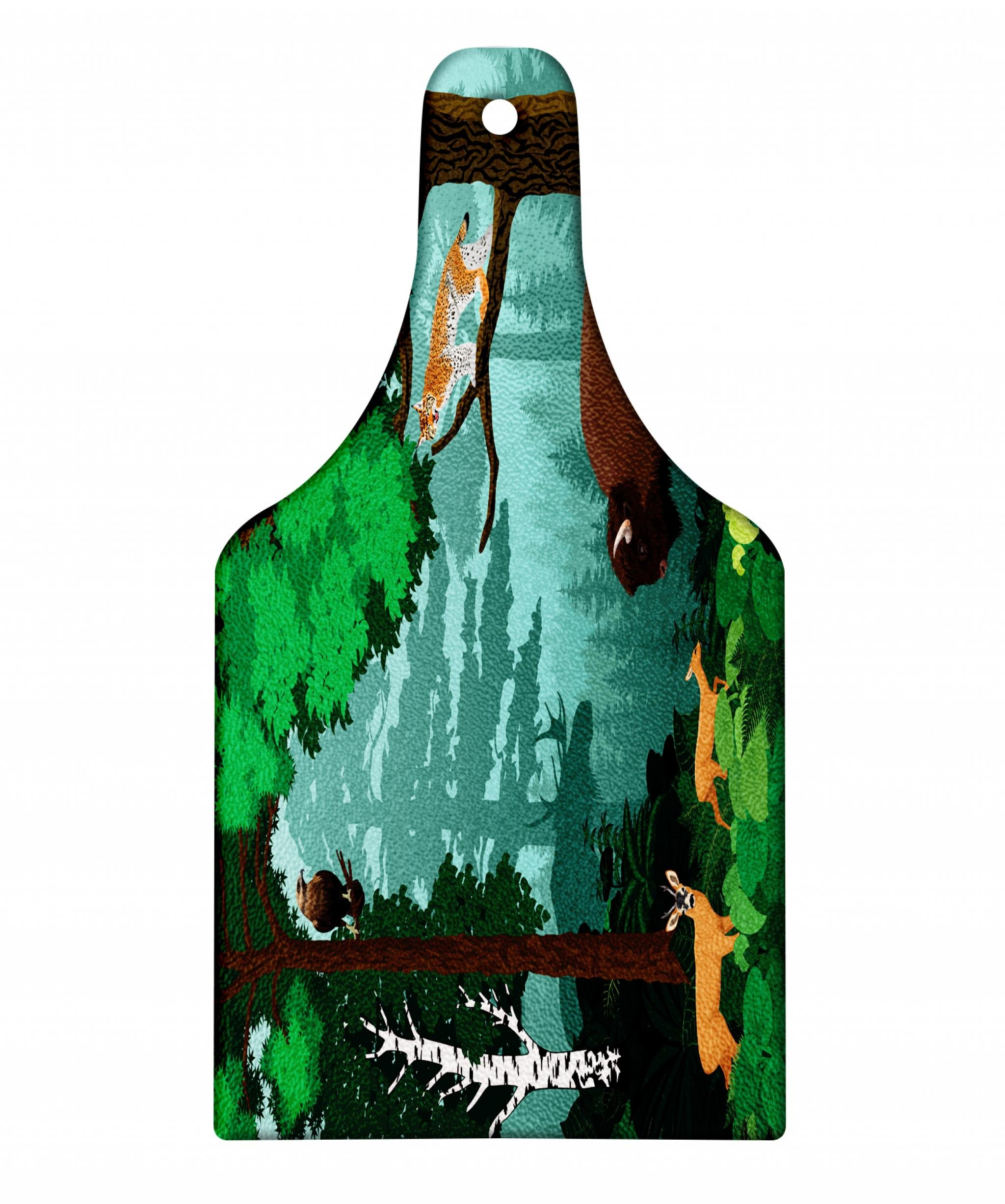 Lunarable Bison Cutting Board, Jungle Scenery with Buffalo Wolf Deer Owl Moose Tiger Lynx Animals Woodland Print, Decorative Tempered Glass Cutting and Serving Board, Wine Bottle Shape, Multicolor
