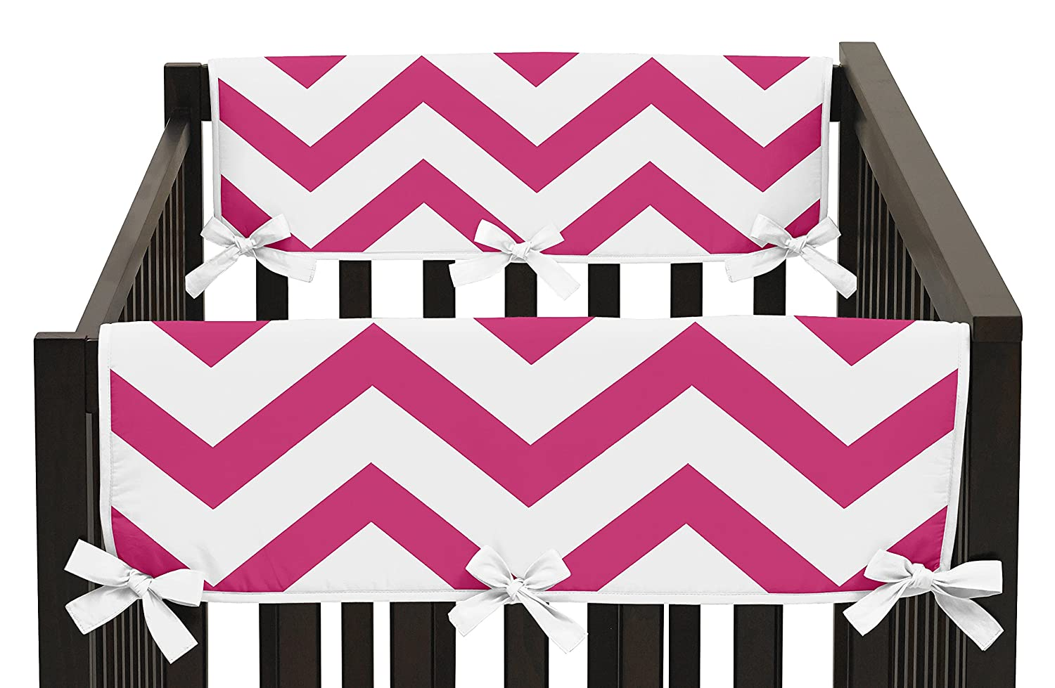 Baby Sweet Jojo Designs Hot Pink And White Chevron Zigzag Teething Protector Cover Wrap Crib Side Rail Guards Set Of 2 Nursery