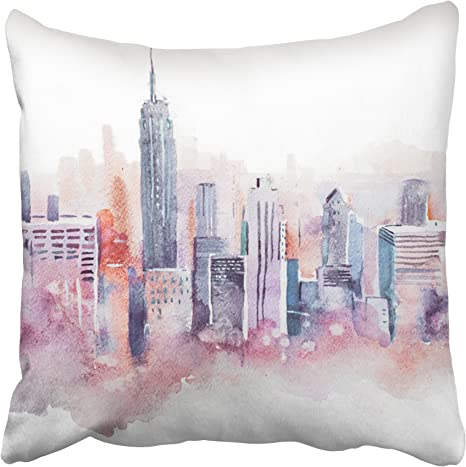 Amazon Com Emvency Nyc Watercolor Drawing Cityscape Big City Downtown Aquarelle Painting Street Urban Throw Pillow Covers 18 X18 Summer Decorative Pillowcases Polyester Cases Cushion Cover Case Double Sided Home Kitchen