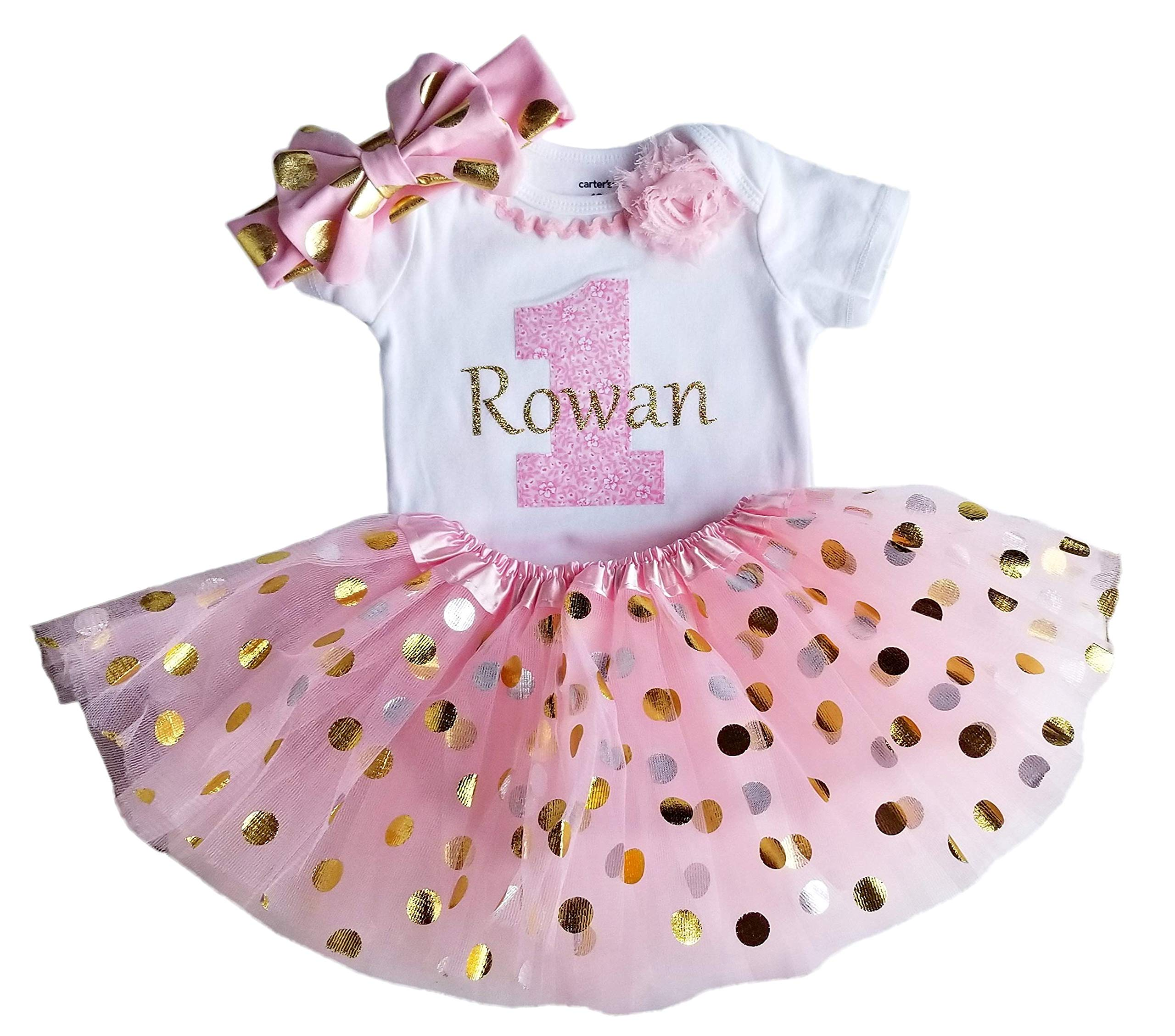 1st Birthday Girl Pink and Gold Personalized Tutu Set (18M Long Sleeve) by Perfect Pairz