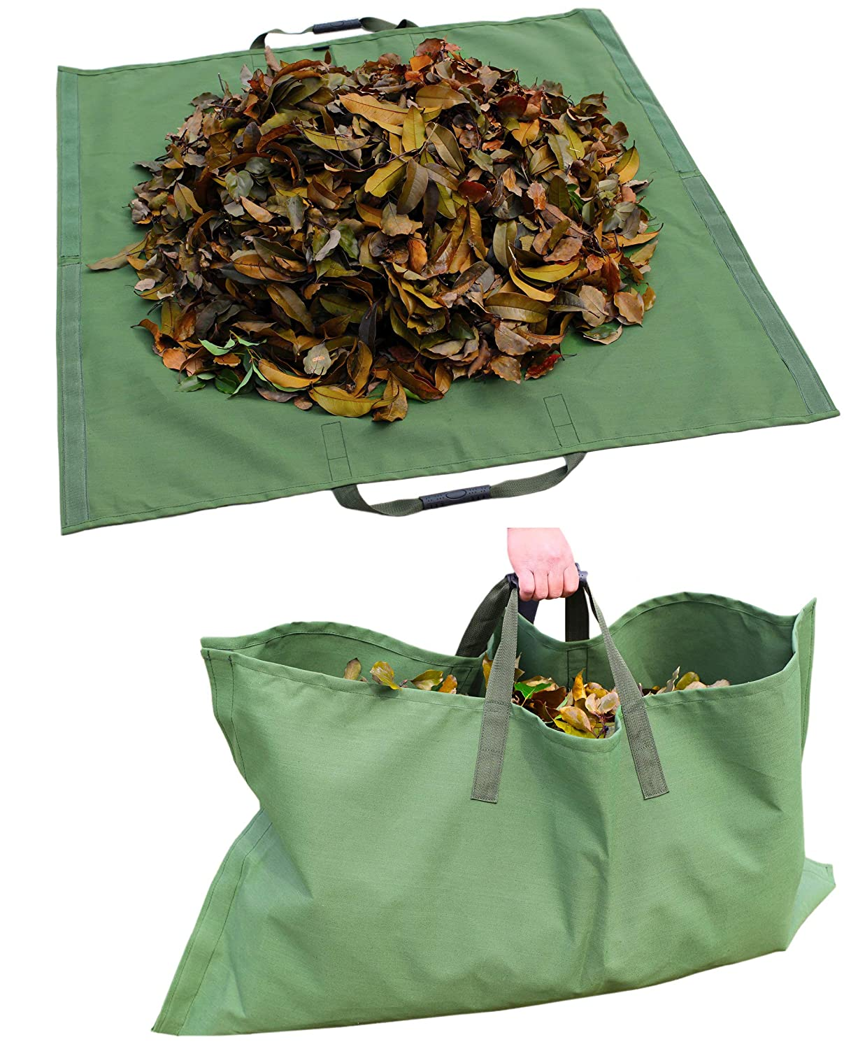 Amatory Leaf Lawn Garden Yard Waste Tarp Clean Up Gardening Trash Bag Clean-up Heavy Duty Military Canvas Fabric Reusable (Tarp-Green)