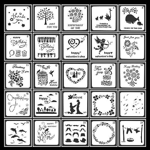 plantillas de formas cuadradas herramientas de dibujo para libro de recuerdos//diario con bolsa de almacenamiento 13x13 cm Guwheat 25 piezas de plantillas para pintar