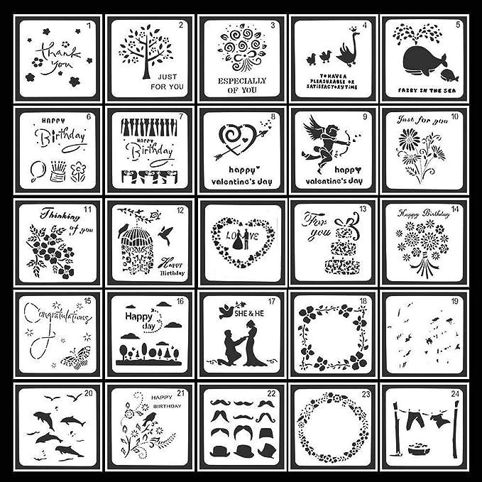Guwheat 25 St/ück Malerei Journal Schablonen 13 x 13 cm quadratische Form Vorlagen Zeichenwerkzeuge f/ür Sammelalbum//Planer//Journal//Holz Malerei//Karte//Graffiti mit Aufbewahrungstasche