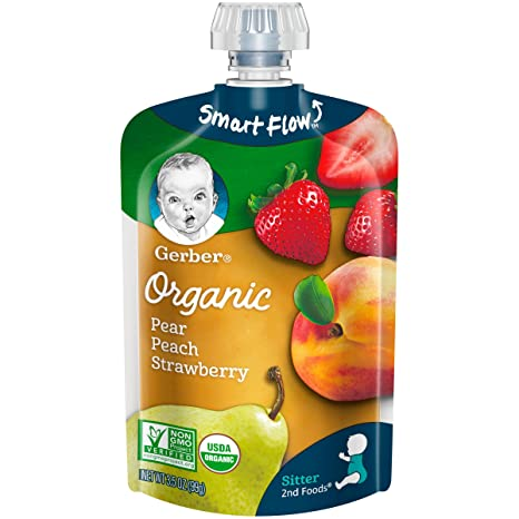 Gerber Organic 2nd Foods Baby Food, Pears, Peaches & Strawberries, 3.5 Ounce Pouch, 12 count