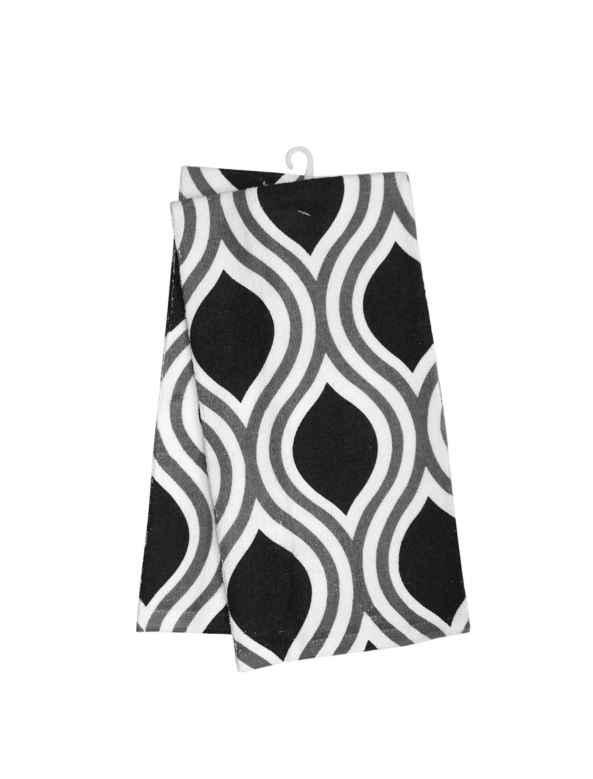 Hotel Tear Kitchen Towel (2 Pack), Black/Grey