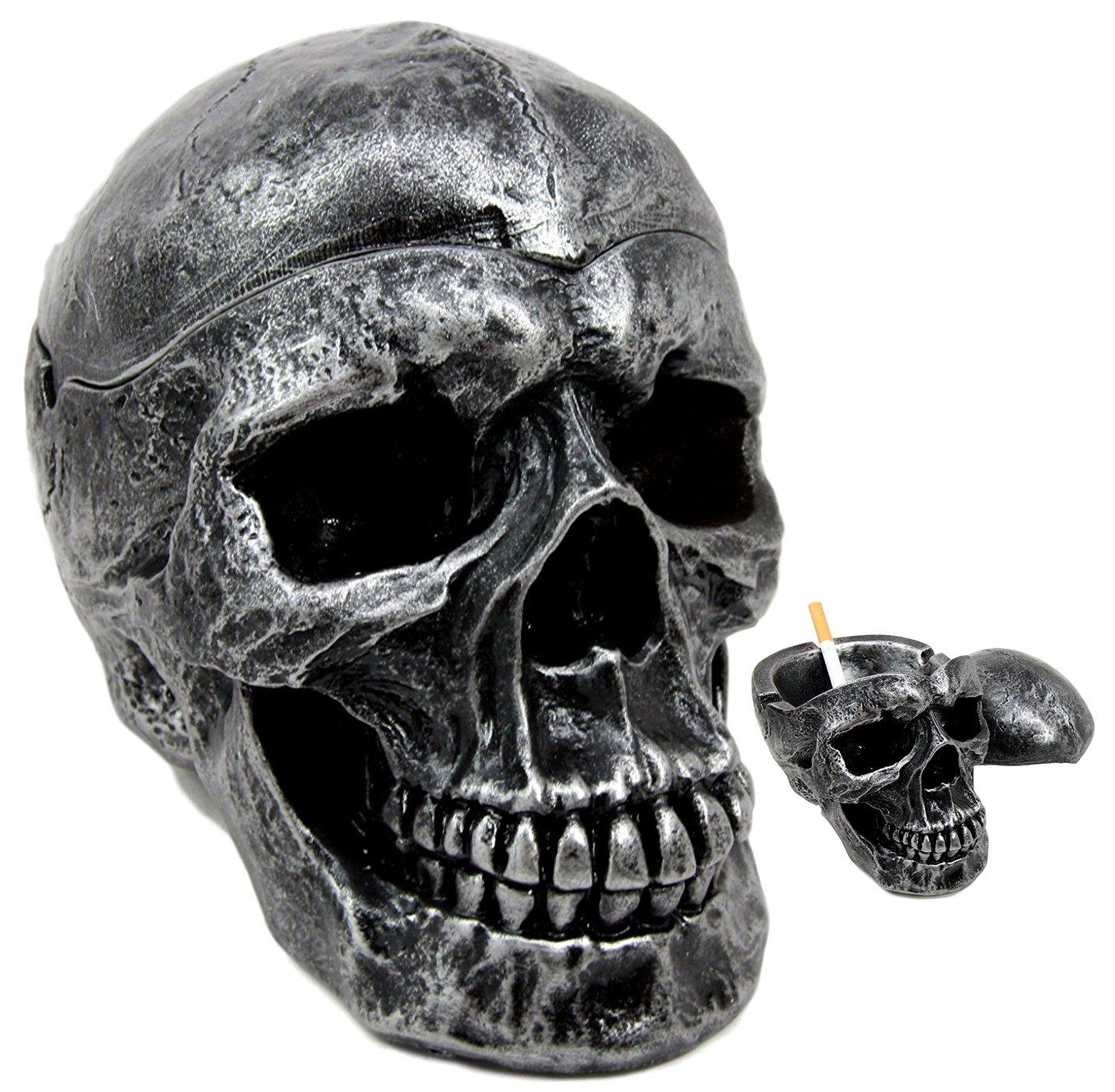 Ebros Death Curse Gothic Metallica Human Skull Ashtray Resin Figurine Day Of The Dead Halloween Spooky Decor Cigarette Ashtray With Lid