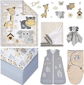 Oberlux Crib Bedding Set, 8 Piece Baby Nursery Bedding, Jungle Animal Safari Theme, Gray/Tan/White