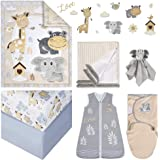 Oberlux Crib Bedding Set, 8 Piece Baby Nursery Bedding, Jungle Animal Safari Theme, Gray/Tan/White