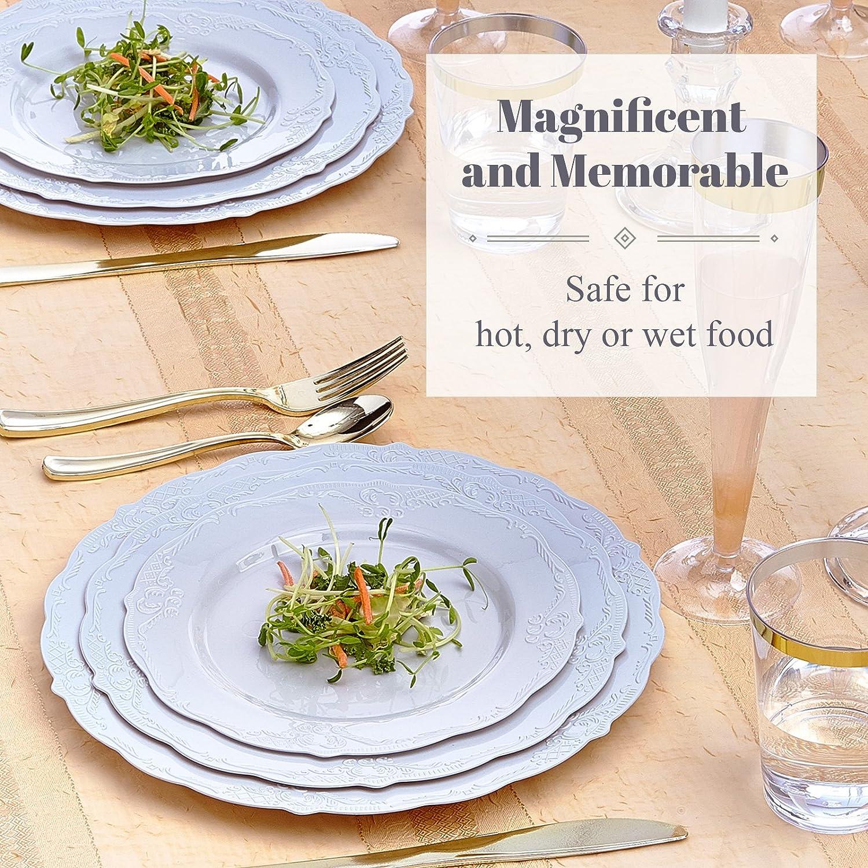 Colección Vintage gris con relieve borde diseño dinnerware- desechables platos de plástico de peso pesado: Amazon.es: Hogar