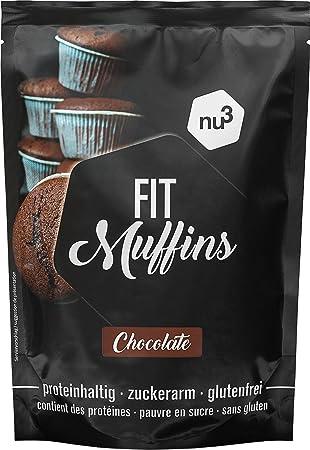 nu3 Fit Muffins - 240g de mezcla lista para hornear magdalenas de chocolate - Fórmula especial baja en carbohidratos y rica en fibra dietética - ...