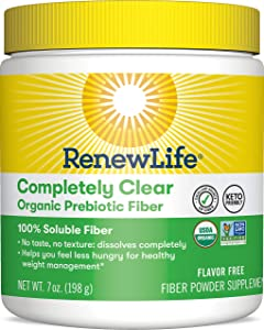 Renew Life Adult Fiber Supplement - Completely Clear Organic Prebiotic Fiber - Fiber Powder Supplement - Gluten, Dairy & Soy Free - 7 Ounce (Package May Vary)