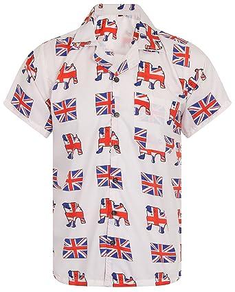 46b469d0 OE Menswear Hawaiian Shirt Union Jack Mens Football Great Britain England  Loud Aloha Bulldog Queen Flag