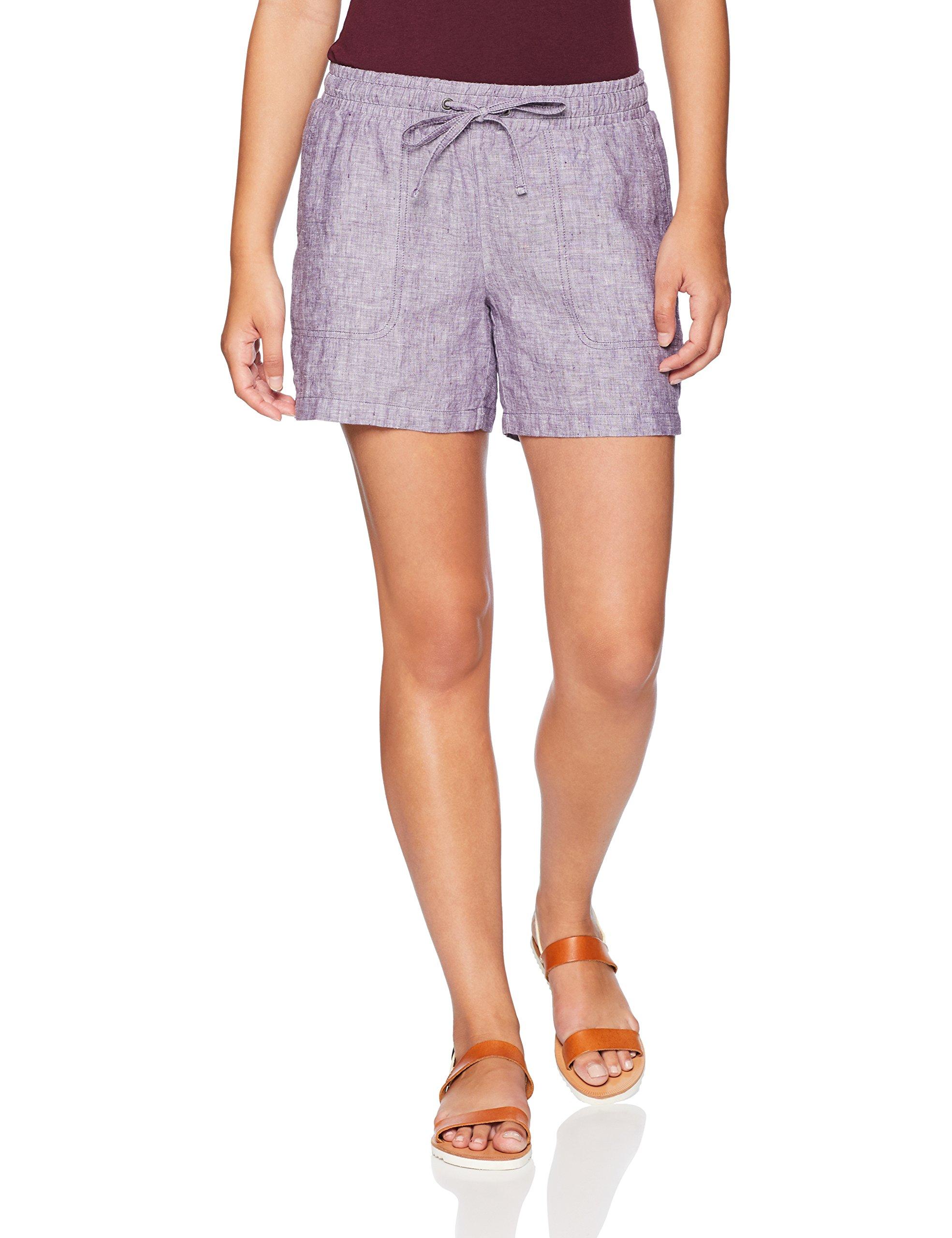 Amazon Essentials Women's 5'' Drawstring Solid Linen Short, Purple, XX-Large