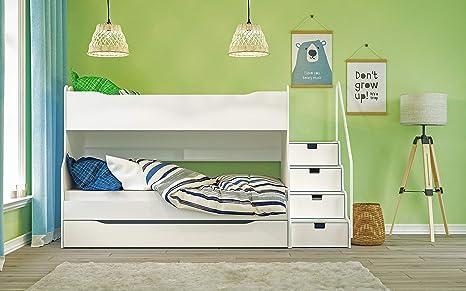 Litera Max 4 con escalera de cajón en color blanco.: Amazon.es: Bebé