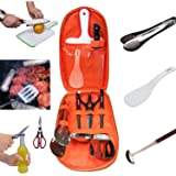 Camping Cooking Utensils Set Kitchen Camp Cookware,Camping Cutting Board,Rice Paddle, Tongs, Scissors, Knife 7 Pieces Kits