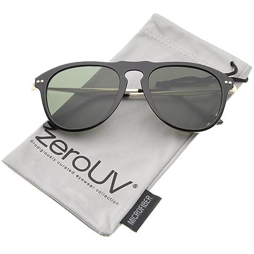 9bdf1aa01 Modern Keyhole Nose Bridge Horn Rimmed Metal Temple Aviator Sunglasses 53mm  (Black-Gold/