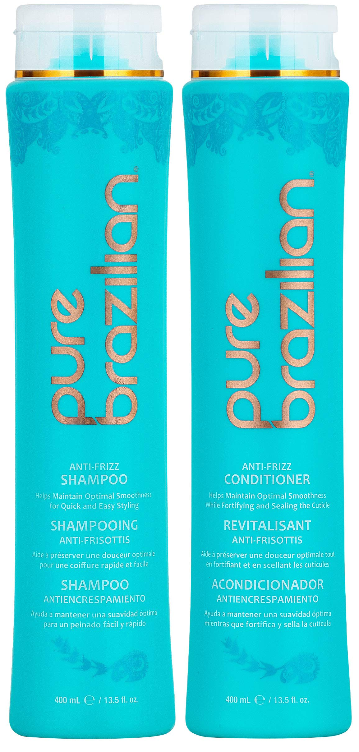 PURE BRAZILIAN Anti Frizz Daily Shampoo & Conditioner - Salt-Free & Color Safe Shampoo & Conditioner Enriched With Keratin, Argan Oil, and Acai (13.5 Ounce / 400 Milliliter) by Pure Brazilian