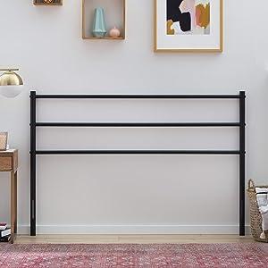 Linenspa ModernMetal Steel Construction-Horizontal Bar Design Headboard, Queen, Black