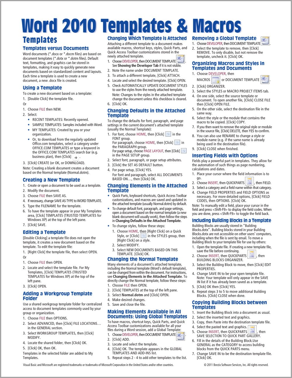 Microsoft Word 21 Templates & Macros Quick Reference Guide Pertaining To Cheat Sheet Template Word