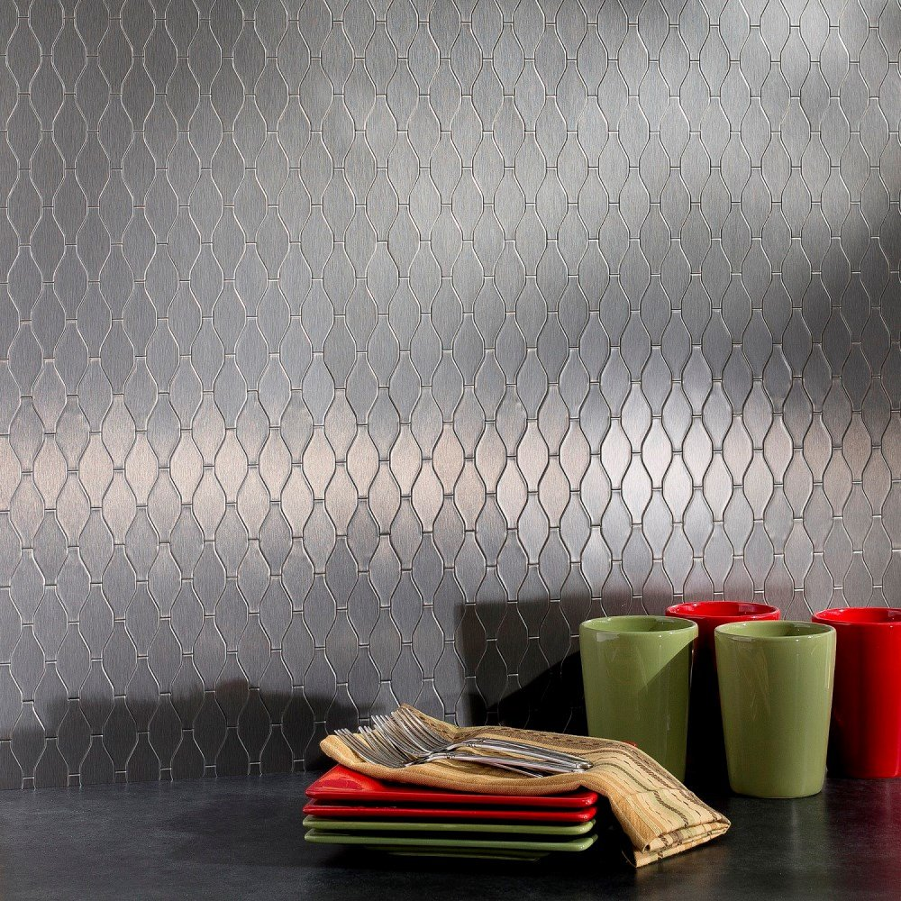 Aspect Peel and Stick Backsplash 6in x 4in Wavelength Stainless Matted Metal Tile for Kitchen and Bathrooms (6-pack)