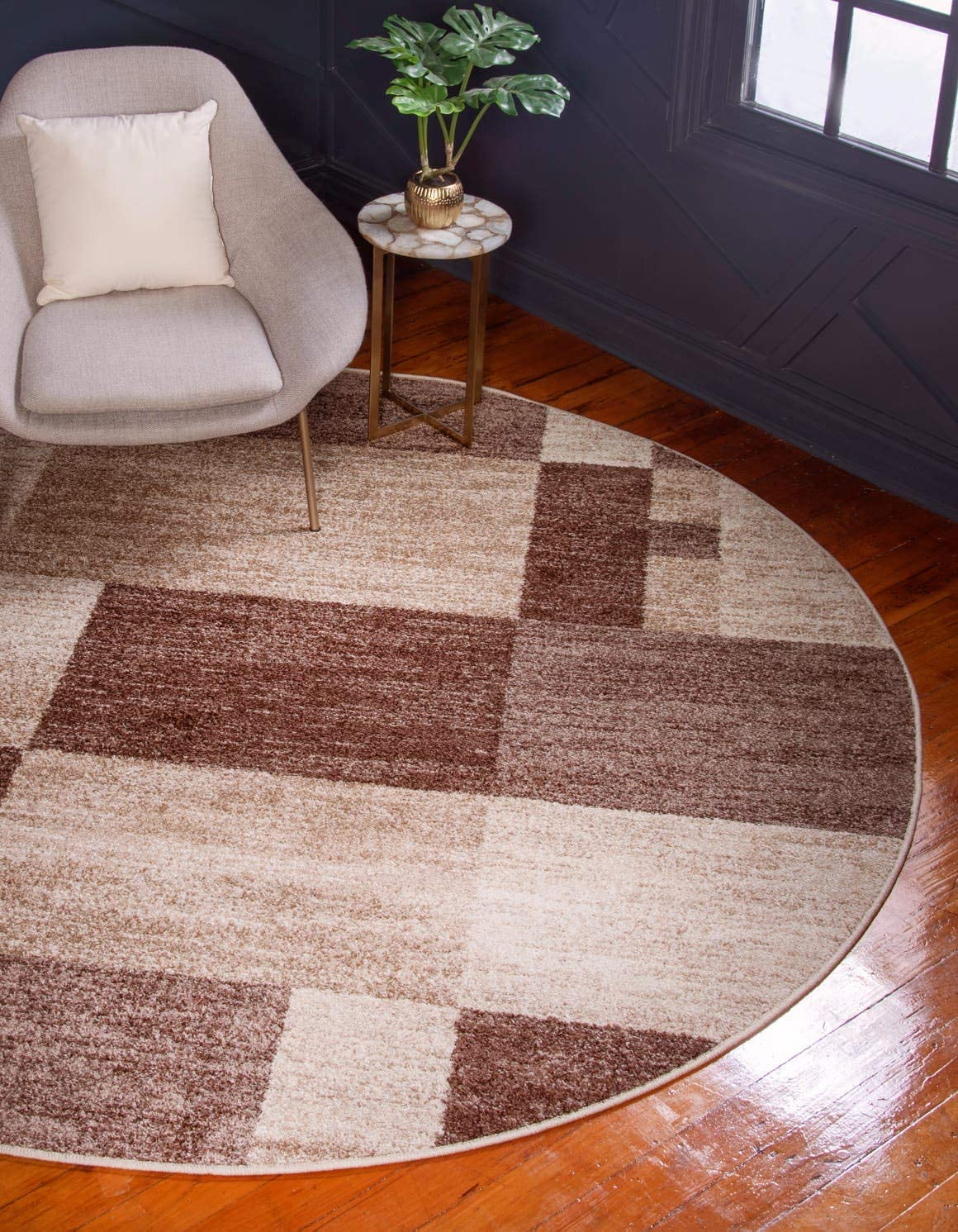 Unique Loom Autumn Collection Abstract Checkered Casual Warm Toned Light Brown Round Rug 8 0 x 8 0