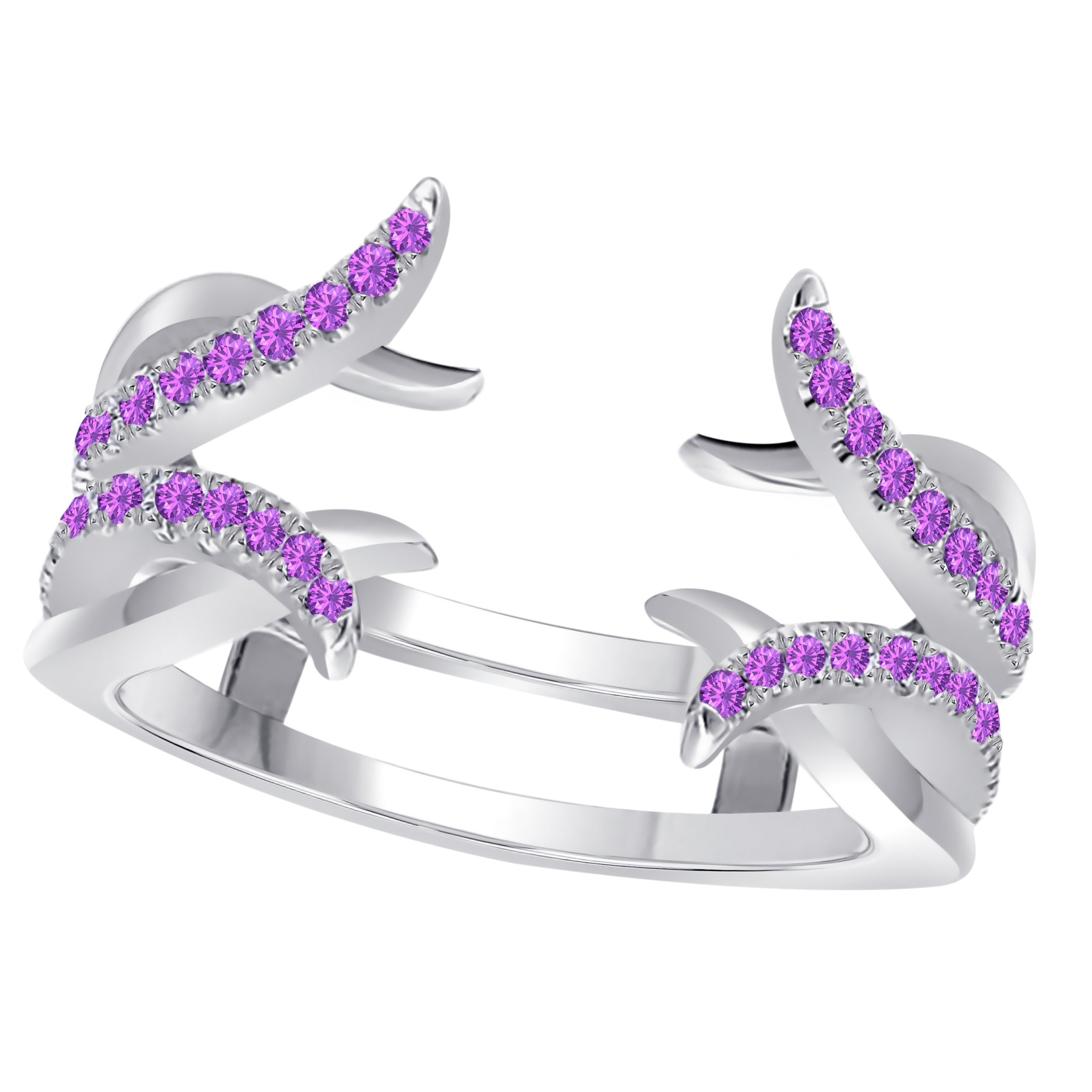 SRJEWELS Sterling Silver Plated Alloy Created Amethyst Round Solitaire Ring Guard Wrap Enhancer Jacket Wedding Engagement Ring Size 4 to 11