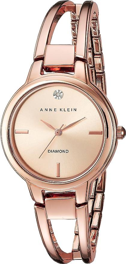 Anne Klein Rose Goldtone Open Link Diamond Dial Bangle Watch