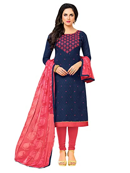 98c4e4732d Applecreation Women'S Cotton Jacquard Unstitched Dress Material (Navy  Blue_Free Size)