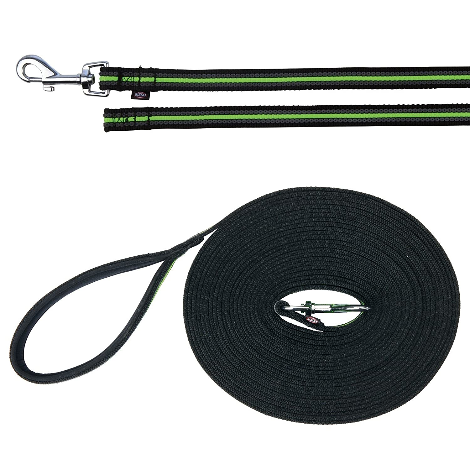 Black Green 49 ft Black Green 49 ft Trixie Fusion Tracking Dog Leash (49 ft) (Black Green)