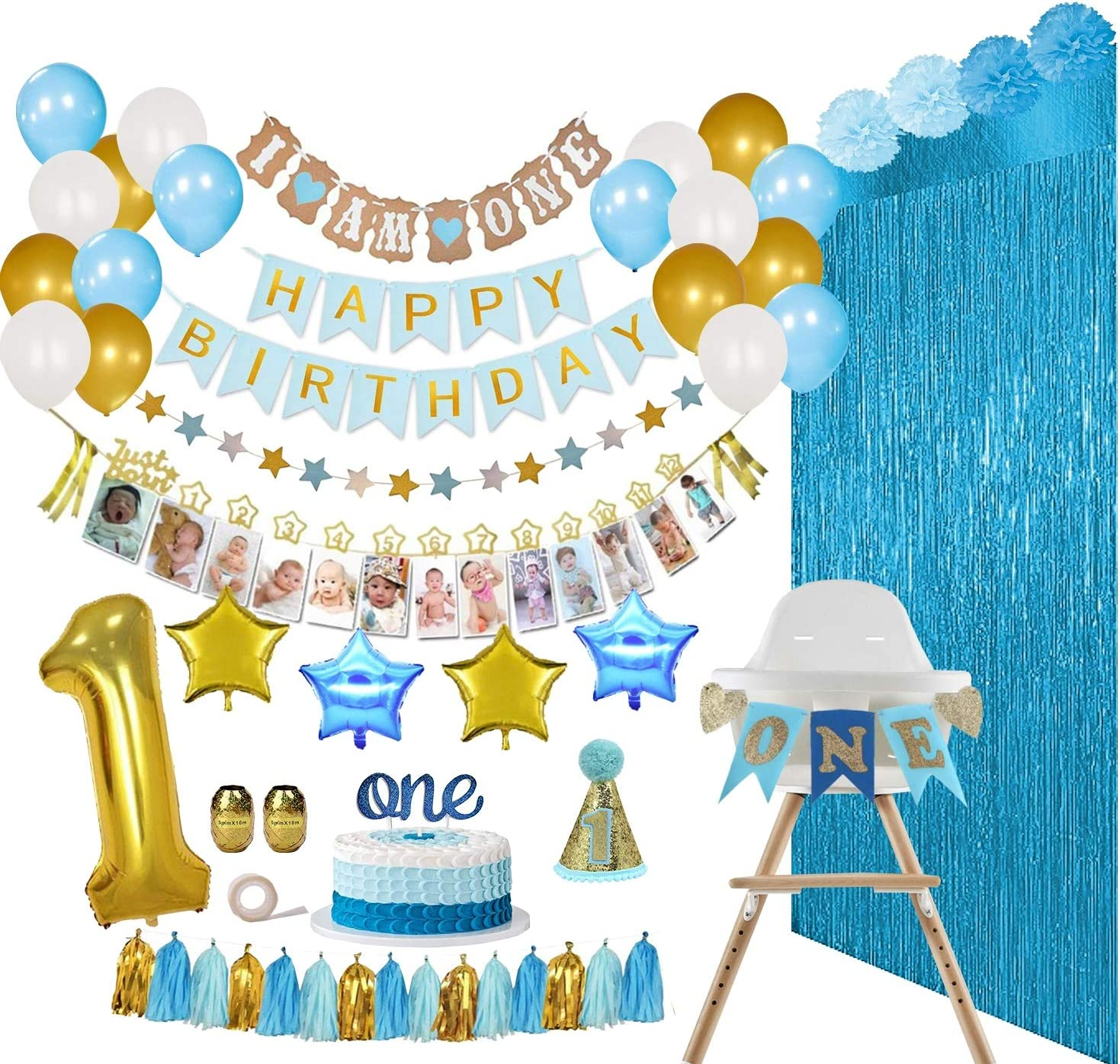 ReignDrop Baby Boy 1st Birthday Decorations Set – First Birthday Party Supplies - Happy Birthday,12 Month Photo, I am One Banner - High Chair Decoration – With Poms, Balloons, Backdrops, Hat and more