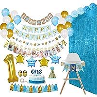 REIGNDROP Baby Boy 1st Birthday Decorations Set – First Birthday Party Supplies - Happy Birthday,12 Month Photo, I am…