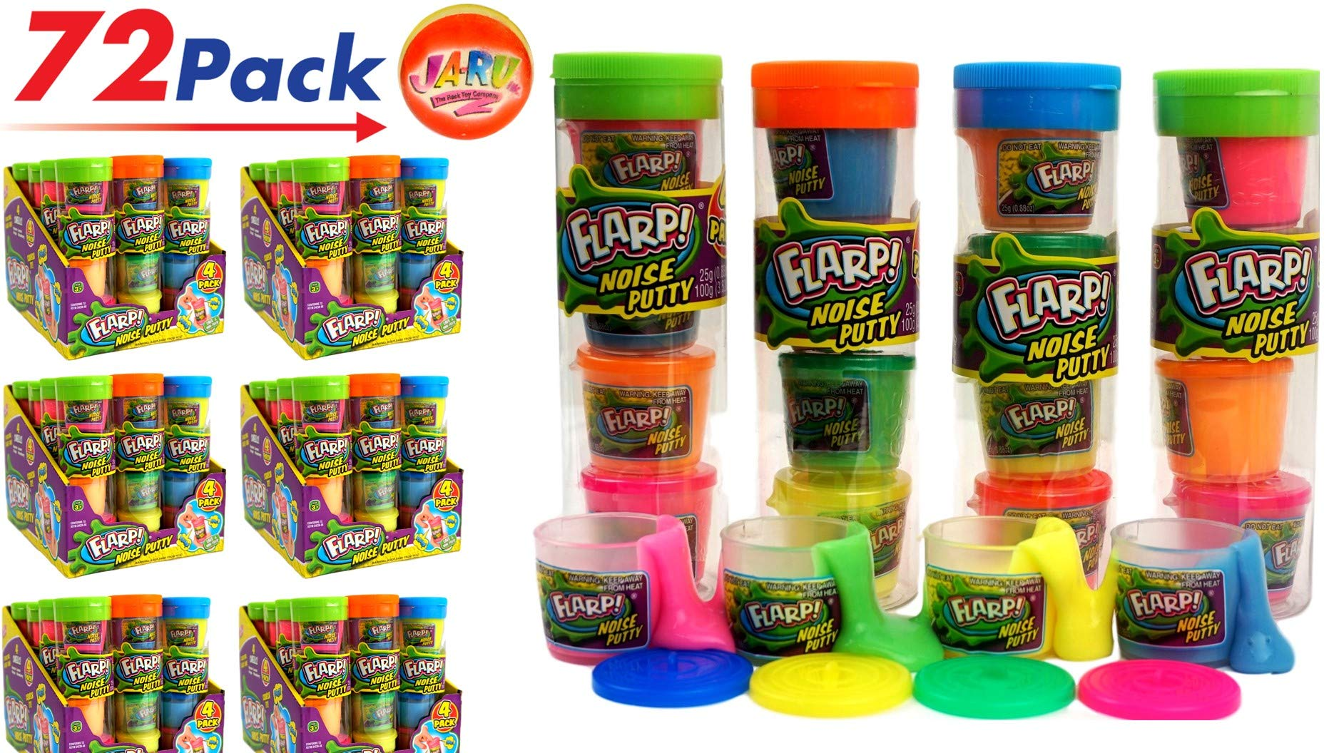 JA-RU Flarp Noise Mini Putty (72Packs of 4) 4 Mini Putty per Pack | Item #336-72