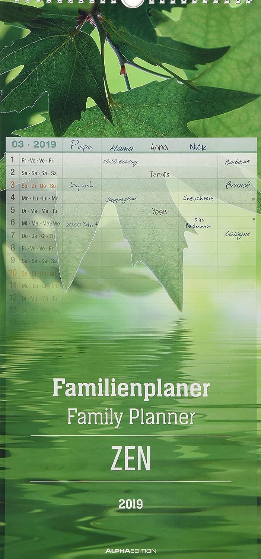 """Calendario Da Muro Della Famiglia """"Zen"""" 2019 21X45 Cm"""