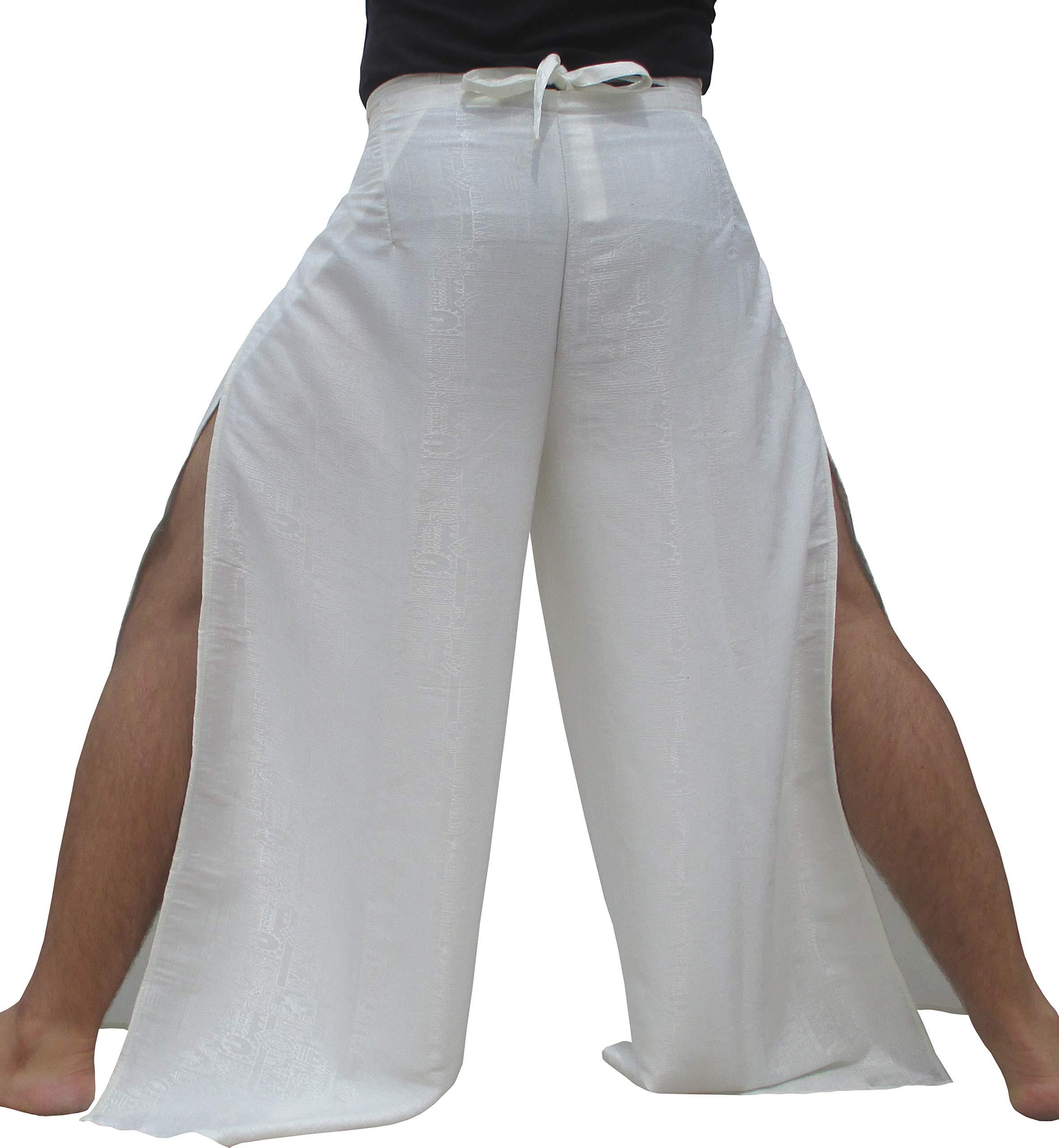 RaanPahMuang Brand Geometric Thick Textured Silk Drive In Wrap Pants, Medium, Cream by RaanPahMuang