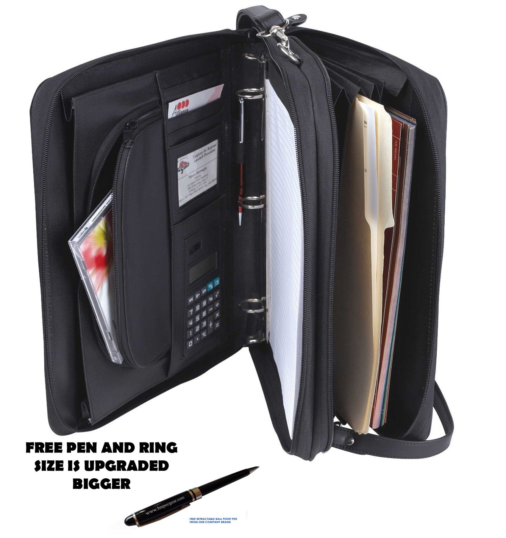 Padfolio 3-Ring Binders, Folder File Divider Organizer Planner w/Smart Handle, Briefcase Luggage Portfolio (1.5'' Inches Ring - Bigger)