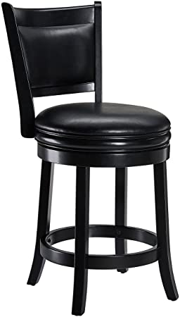 Ball Cast Jayden Wooden Swivel Bar Stool with Faux-Leather Upholstery, 24-Inch, Midnight Black