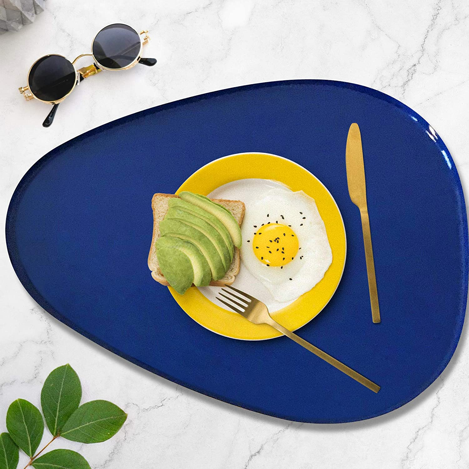 Allegorie Decorative Tray | Stylish Vanity Organizer or Catchall Valet Display | Navy Blue & Gold Metal Serving Tray for Coffee Table, Ottoman, Bar, Liquor or Cocktails 16 x 12.5 inches: Home & Kitchen