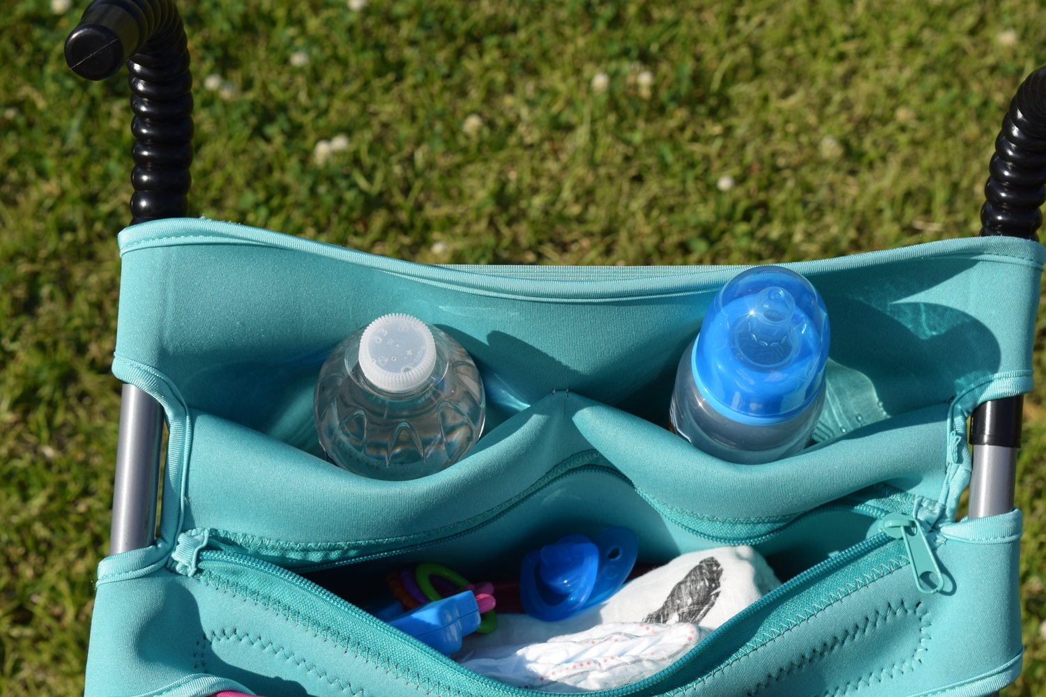 Baby Stroller Caddy Storage Organizer - Cup, Bottle and Diaper Holder for Stroller Accessories Bag - Universal Umbrella Stroller Organizer with Cup Holders - Perfect Baby Shower Gift (Turquoise) by Sunshine Nooks (Image #7)