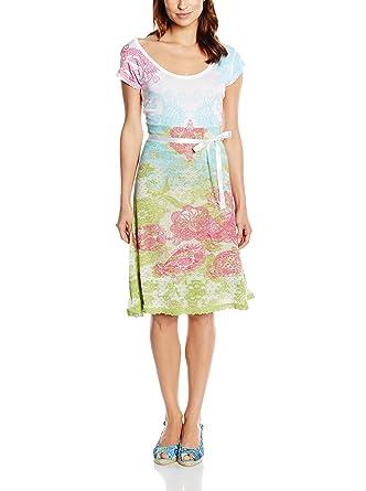 Desigual - Robe - Femme Blanc White   Pastel Green Pink XXL  Amazon ... 9945e0dc271d